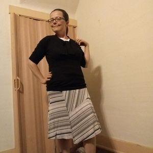 Athleta gray and black jersey knit midi skirt